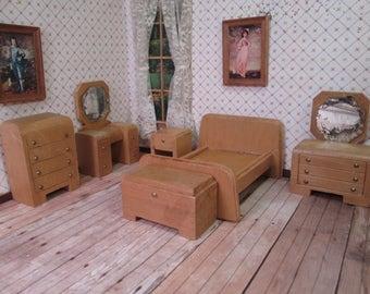 Vintage Wood Dollhouse Furniture - 6 Piece Bedroom Set - Nancy Forbes - 1940