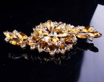 "4"" HUGE brooch / Vintage rhinestone pin /  cluster spray / statement lapel pin / costume jewelry"