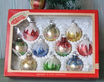10 Vintage Liberty Bell Small Glass Christmas Ornaments in Box Columbia
