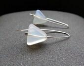 carnelian earrings. white stone earings. triangle jewelry.