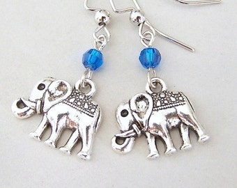 Adorable elephant earrings, love elephants, antiqued silver, Swarovski crystal in your color choice