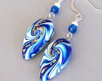 Royal blue earrings, Capri blue and white dagger style, artisan polymer clay earrings with crystals, blue, white and gold swirl, cobalt