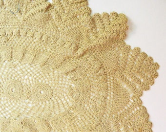 Pair of Beautiful Antique Thread Crochet Doilies beige color