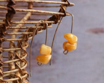 Contemporary white yellow natural Amber Sterling silver Earrings - Modern Simple Design - Artisan Wire Hook - Silver arch Ambre