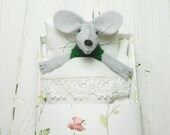 Stuffed felt animal mouse in matchbox stuffed plush gift for pre teen girl woodland animal baby shower nursery décor  birthday green brown