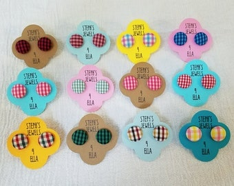 Gingham Plaid Fabric-Covered Button Earrings Variety of Colors Available