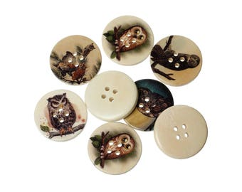 Owl wood sewing buttons - 6 Mixed Patterns craft buttons (BB1005R)