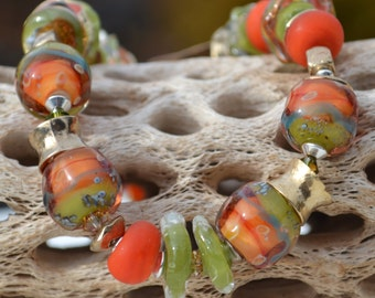 Reserve for Patrice-CANYON VIEW-Handmade Lampwork and Bronze Bracelet