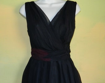 S Vintage 50s 60s  Black Chiffon Party Dress Mad Men Style Color Change Mostly on the Belt As Is