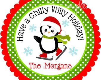 Printable Penguin Stickers, Personalized Holiday Stickers, Printable Penguin Gift Tags, Holiday Favor Tag , Skating Stickers - You print