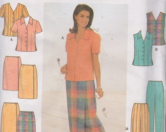 Simplicity 8124 Misses' Blouse, Skirt and Pants Sizes 14, 16, 18 UNCUT Pattern 1998