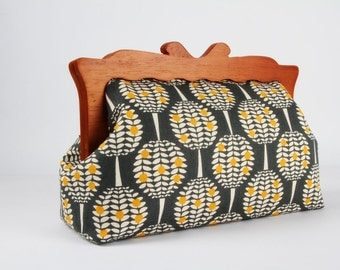 Clutch purse with wooden frame - Citrus trees in charcoal and sunny yellow - Home purse / Mid century inspired / Modern minimalism