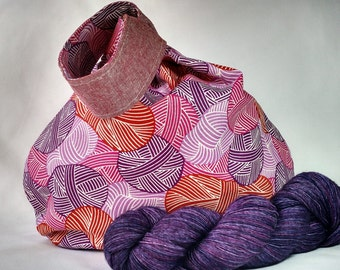 Japanese knot knitting crochet WIP project bag - medium size - drawstring pouch - Wound Up red pink purple linen - free knitting pattern too