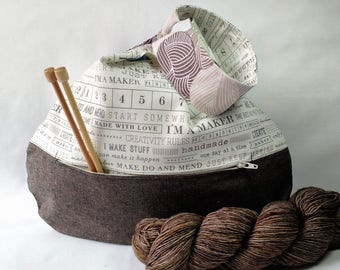 Project bag knitting crochet sock shawl scarf - Japanese knot zippered pocket - brown linen I'm a Maker yarn - guys knit too - free pattern
