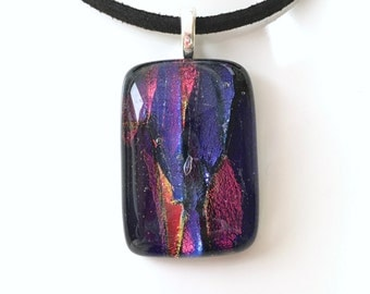 Red Purple Blue Fused Dichroic Glass Necklace - Red Glass Jewellery - Blue Necklace Pendant - Handmade Jewellery - EP 543