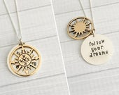 Graduation Jewelry - Follow Your Dreams Necklace - Graduation Gift - Inspirational Gift - 2-Tone Hidden Message Necklace - 2017