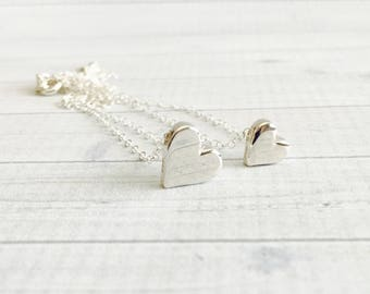 Mother Daughter Necklace Set - Mother Daughter Jewelry - Silver Heart Necklace - Mom Daughter Gift Set - Mother's Day Jewelry - Best Friend