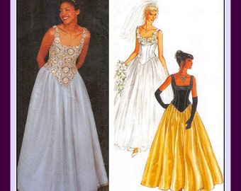 PRINCESS STYLE CORST-Skirt Ensemble-Sewing Pattern-Boning-Lined-Fitted-Square Neckline-Scoop Back-Long Skirt-Underskirt-Uncut-Size 6-16-Rare