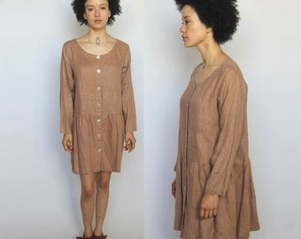 folk modern -- vintage 80s oversized linen dress S/M