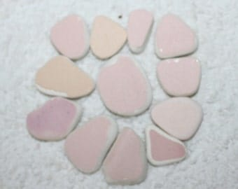 AWESOME PINK POTTERY Shards Wonderful Jewelry quality pottery gems in nice warm shades of pink and fleshtones  zy 311