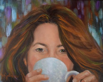 RESERVED for D., Custom Original Coffee Cup Painting by Cheri Wollenberg