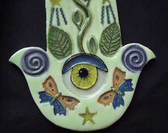 KIT - HAMSA Hand, Good Luck, Protection - Ceramic Mosaic Tiles