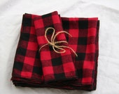 Rustic Dinner Napkins Lumberjack Buffalo Plaid Checks Checkered Napkins Red Black Cotton Flannel- Set of 8-Also Available in Black and White