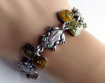 Vintage Pewter Frog and Lily Pad Bracelet - Silvertone Link Bracelet w/ Rhinestones, Enamel - Cute Gift for Frog Collector - Figural Jewelry