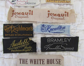 Vintage Fabric Labels Clothing and Hat lot of 8 tags