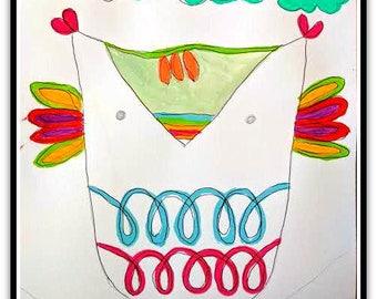 Happy Owl Folk Art Happy Art Kids Art 9x12 Watercolor on Watercolor Paper Original whimsical Art