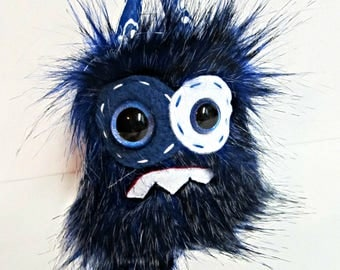 Worry Monster Plush - Handmade Minor Monster Plushie - Blue and Black Faux Fur - OOAK Plush Monster - Small Plush Toy - Weird Toy - Nervous