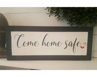 Come Home Safe Firefighter Sign, Firefighter Gift, Firefighter Decor, Thin Red Line, Firefighter Art, Rustic Home Decor, Firefighter Wedding