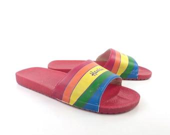 Rainbow Hawaii Sandals Vintage 1980s  Slides Women's size 7 38