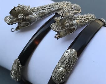 RARE Antique  Strait Chinese  pair of Bangle . Silver . Dragon China Jewelry ~ Childs Sz or Very small size