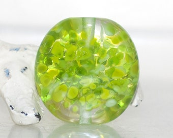 Lime Speckle Lampwork Glass Bead