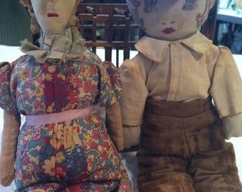SALE- Charming Folkart Dolls handmade 1940's Barneche Design/Stephanie Barnes Studio