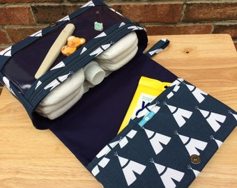 New and larger tee pee diaper bag, new parents gift, diaper clutch with clear zipper pouch, baby bag organizer, navy blue diaper purses