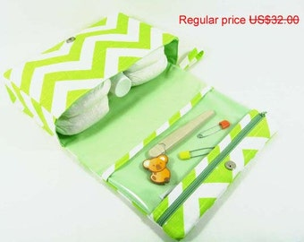 ON SALE Lime green diaper clutch, chevron slub cotton diaper purse, diaper bag organizer with clear zipper pouch, baby bag, nappy bag