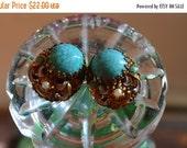 Sale, Turquoise Earrings, Vintage Earrings, Clip On Earrings, 1950's Jewelry, 50s Earrings, Art Nouveau  Earrings,