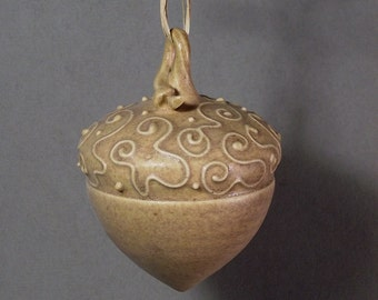 Tan acorn ornament, christmas ornament