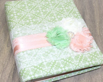 GIFT Recording Book / Sage Green and Peach Guest Book / Bridal Shower Guest Book / Green and Peach / Sage Green Bridal Shower / Blush Shower