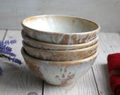 Set of Four Rustic Ceramic Bowls Handmade Stoneware Pottery Bowls in White Ocher Glazes Made in USA Ready to Ship