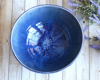 Cobalt Blue Serving Bowl Wheel Thrown Pottery Handcrafted Stoneware Centerpiece Made in the USA