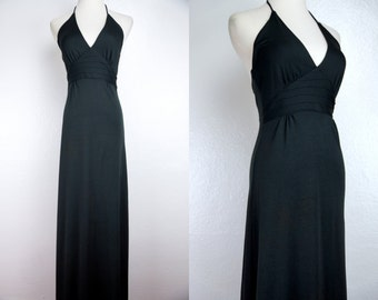 1970s Black Maxi Sun Dress Halter Backless Disco Jersey Small 70s Witch Goth