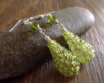 "Rare Vintage Smoky Green Spun Glass Beaded Earrings with Swarovski Crystals ""Mythic Olivine Glass"""