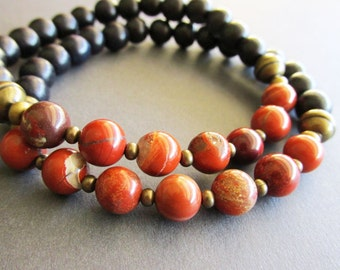 Red Flake Jasper and Black Wood Beaded Men's Bracelet