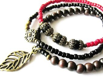 Hippie Boho Brown Wood, Black and Red Glass Beaded Bracelet Set