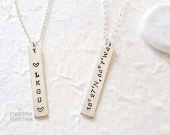 Personalized Vertical Bar Necklace | Sterling Silver Name | Delicate Layering | Hand Stamped Name Date Mantra | Christina Guenther