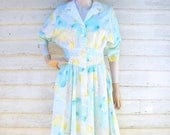 ON SALE 80s Floral Dress size Small Watercolor Pastels Cutout Collar Basque Waist