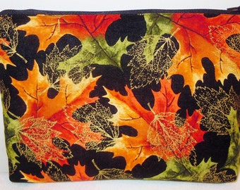 Fall Leaves - Makeup, Multi-Use, Pouch, Electronics, Supplies, zipper, Case, Cozy